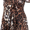 Leopard Print Cap Sleeve Crossover V Neck Wrap Top Swing Dress