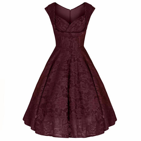 Wine Red Lace Embroidered Swing Dress