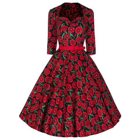 Black Red Poppy Rockabilly Party Prom Dress - Pretty Kitty Fashion