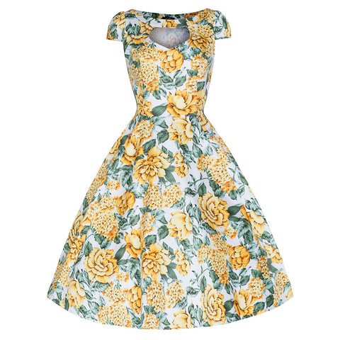 Pretty Kitty Lemon Yellow Blossom Floral 50s Dress