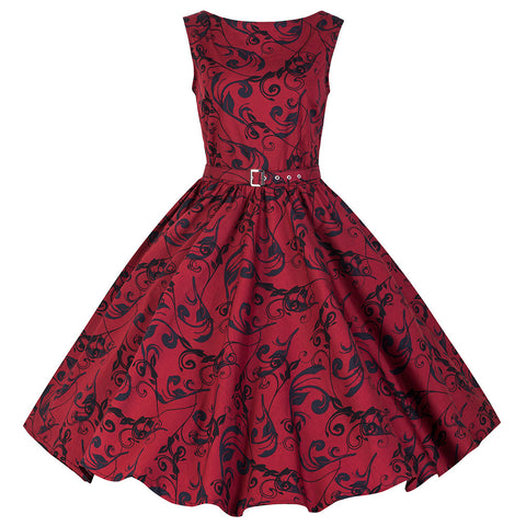 Pretty Kitty Vintage Red Sleeveless Swing Dress