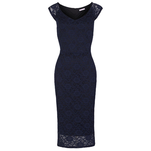 Navy Lace Wiggle Pencil Dress