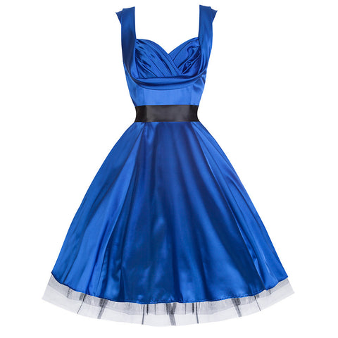 Pretty Kitty Blue Satin Cocktail Swing Dress