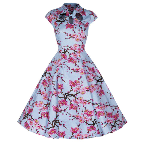 Pretty Kitty Fashion 50s Sky Blue Floral Print Swing Dress