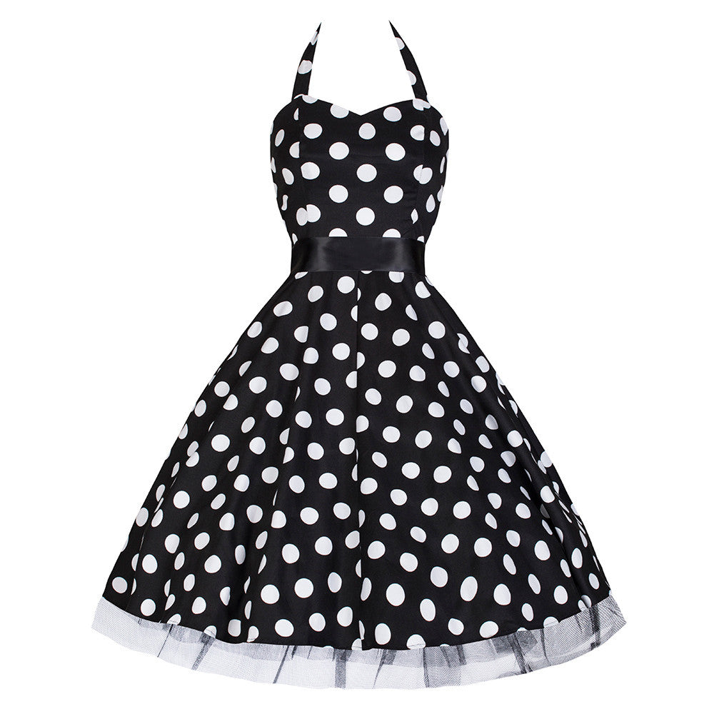 Black and White Polka Dot Rockabilly Swing Prom Pin-Up