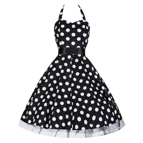 Pretty Kitty 50s Large Polka Dot Black Rockabilly Swing Prom Pin-Up Dress