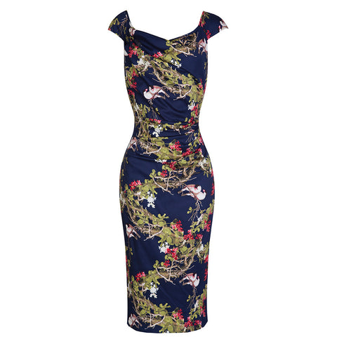 Navy Bird Print Wiggle Pencil Dress