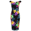 Black and Multi Colour Floral Print Bardot Bodycon Pencil Dress - Pretty Kitty Fashion
