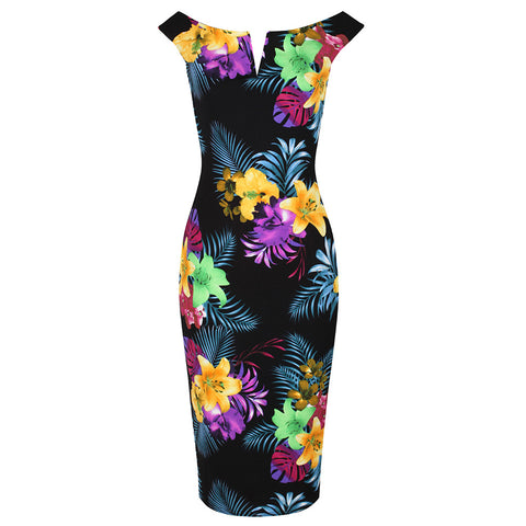 Black and Multi Colour Floral Print Bardot Bodycon Pencil Dress