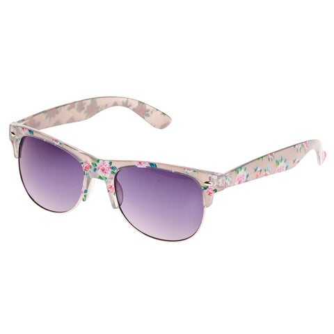 Grey Floral Vintage Sunglasses