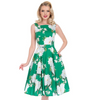 Summer Green White Floral 50s Retro Garden Party  Dress