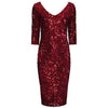 Wine Red 3/4 Sleeve V Neck Velour Sequin Pencil Wiggle Party Dress