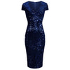 Navy Blue Capped Sleeve V Neck Sequin Pencil Wiggle Party Dress