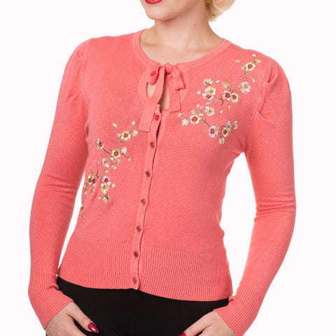 Coral Embroidered Crop Cardigan