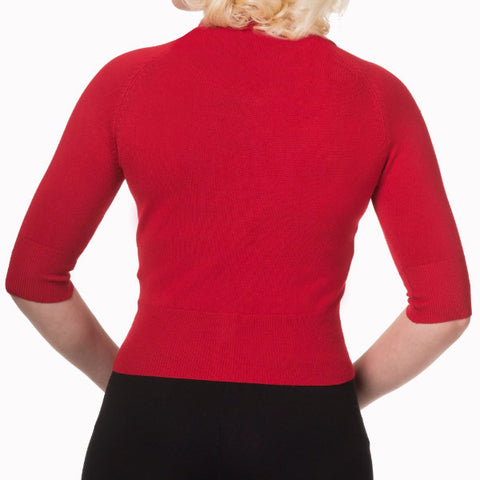 Red Short Sleeve Crop Collar Cardigan