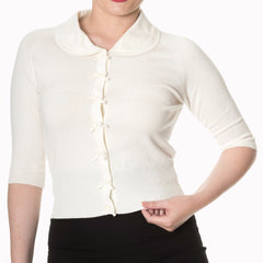 Cream Short Sleeve Crop Collar Cardigan