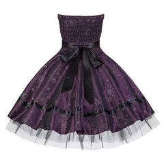 Pretty Purple Floral Satin Swing Dress