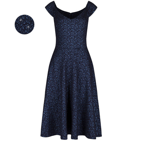 Navy Blue Glitz Cap Sleeve Swing Party Dress