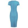 Pretty Blue Short Sleeve Ruched Tie Bodycon Pencil Dress - Pretty Kitty Fashion