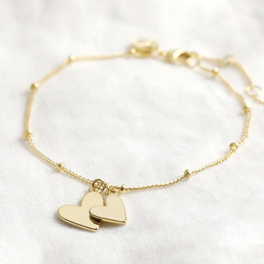 18ct Gold Plated Double Hearts Bracelet