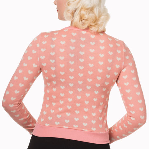 Rose Pink Hearts Crop Cardigan