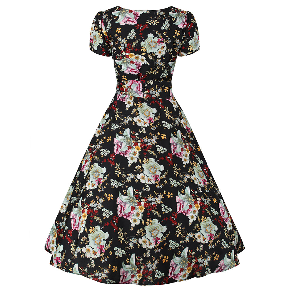1694a7b5ac27 Black Floral Print Cap Sleeve Tie Waist Rockabilly 50s Swing Dress