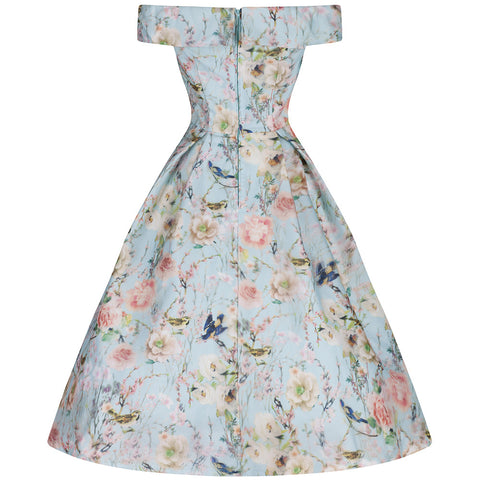 Aqua Floral Bardot Neck Floral Swing Dress - Pretty Kitty Fashion