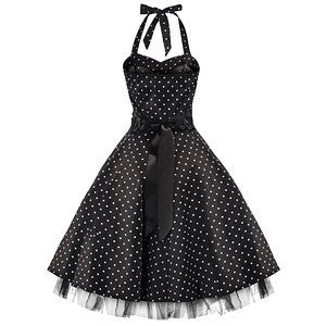 50s Polka Dot Black Rockabilly Swing Prom Pin-Up Dress - Pretty Kitty Fashion