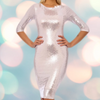 Nude Pink & Silver Sequin 3/4 Sleeve Bodycon Pencil Wiggle Party Dress - Pretty Kitty Fashion