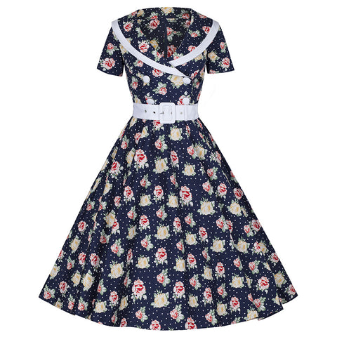 Navy Blue Polka Dot and Rose Print Belted Swing Dress