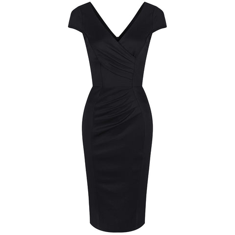 Black Capped Sleeve Bodycon Wiggle Dress - Pretty Kitty Fashion