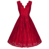 Red Embroidered Lace Swing Dress - Pretty Kitty Fashion