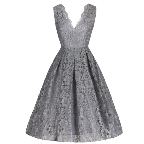 Silver Grey Stunning Lace Embroidered Dress