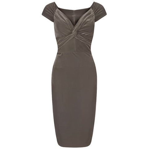 Taupe Velour Crossover Wiggle Dress