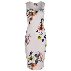 Pink Floral Bodycon Pencil Dress