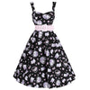 Black and Pink Kitten / Cat Print 50s Swing Dress
