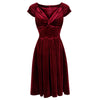 Claret Red Velour Crossover Midi Dress