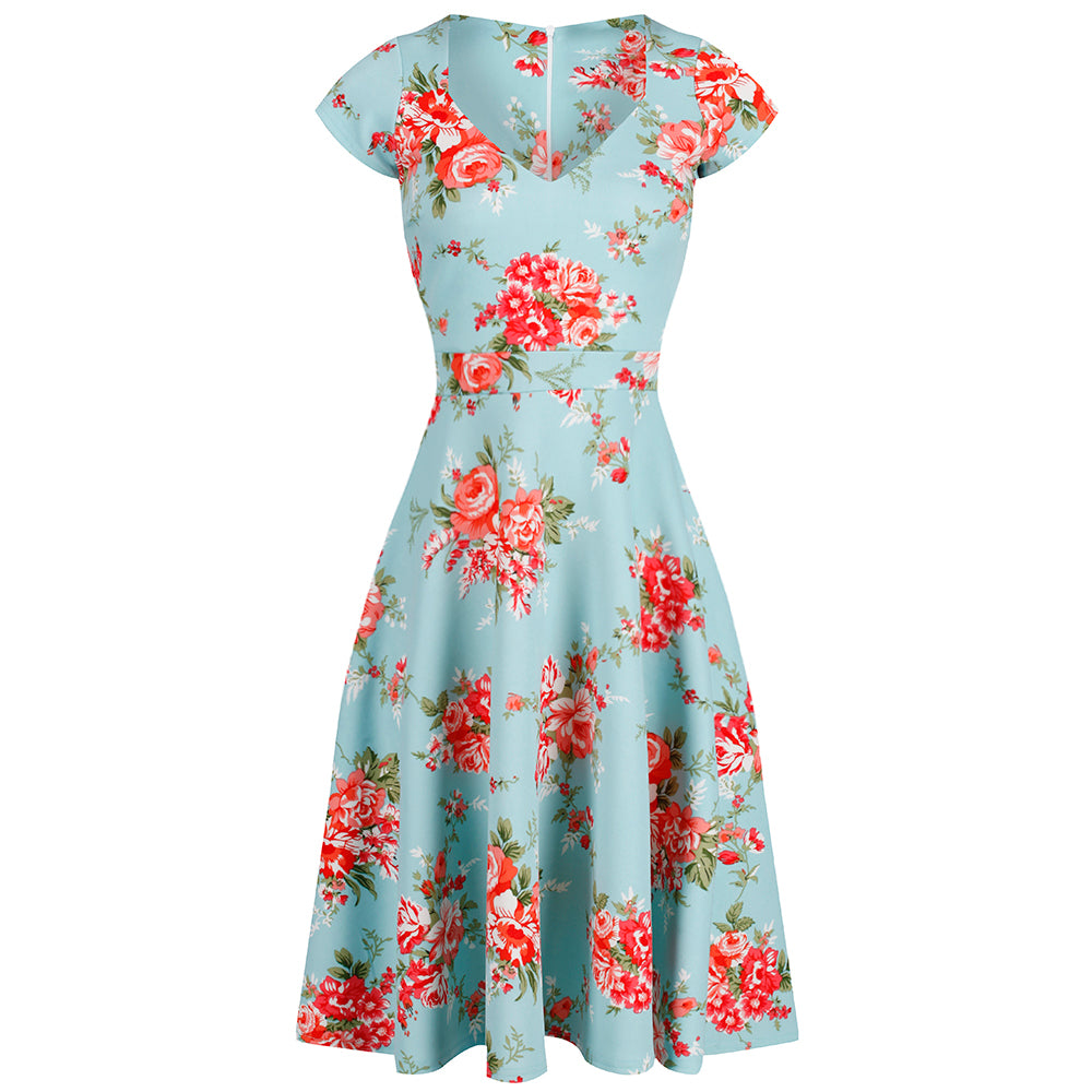 d72f22a5b958 Turquoise Blue Floral V Neck Cap Sleeve 50s Swing Dress