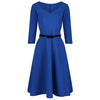 Royal Blue Sweetheart Neckline Belted Rockabilly 50s Swing Dress - Pretty Kitty Fashion