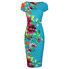 Turquoise Summer Floral Bodycon Cap Sleeve Wiggle Dress