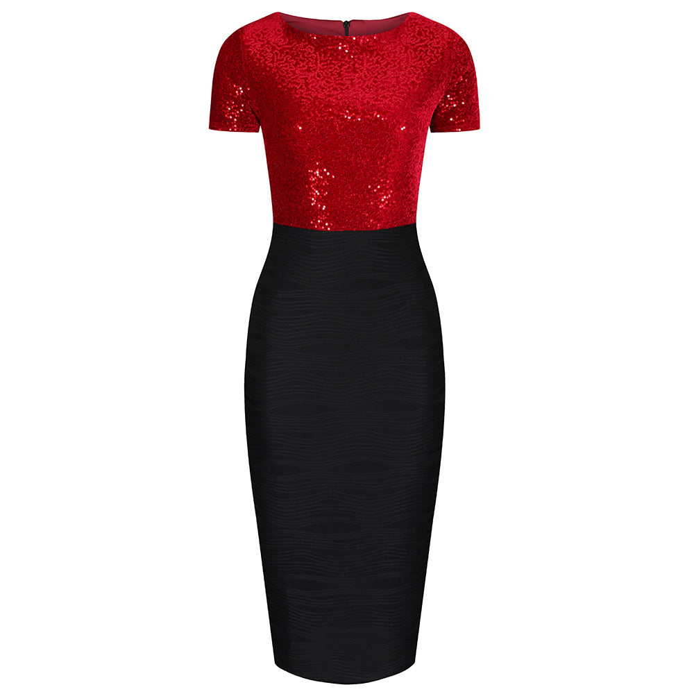 1044dbdfa11 Red Sequin Black Skirt Short Sleeve Bodycon Wiggle Dress - Pretty Kitty  Fashion