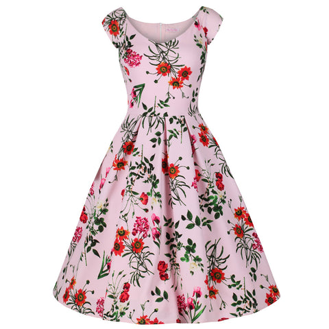 Pink Floral Pleated Swing Dress