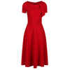 Red Neck Tie Short Sleeve Vintage Swing Dress - Pretty Kitty Fashion