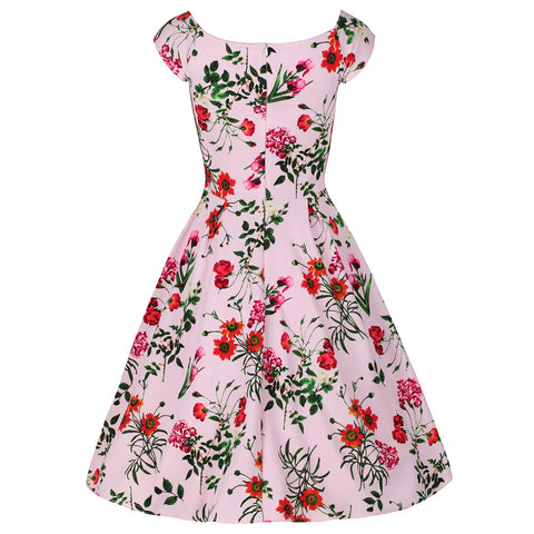 Pink Floral Print Pleated 50s Swing Dress