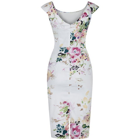 Cream White Floral Wiggle Pencil Dress