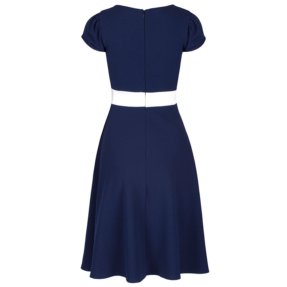 d015638ef9f8 Navy Blue and White Nautical Inspired Rockabilly 50s Swing Dress ...