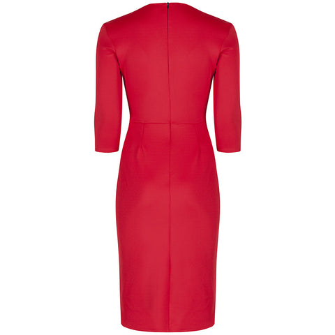 Red 3/4 Sleeve Crossover Wrap Bodycon Wiggle Dress