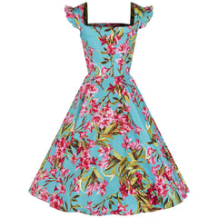 Turquoise and Pink Floral Rockabilly Dress