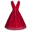 Jolie Moi Vintage Red Embroidered Lace 50s Swing Occasion Dress - Pretty Kitty Fashion