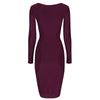 Aubergine Purple V Neck Long Sleeve Vintage Pleat Detail Slinky Pencil Dress - Pretty Kitty Fashion